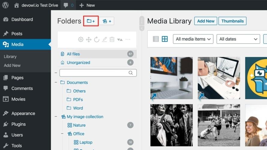 Erstelle einen neuen Ordner mit Real Media Library