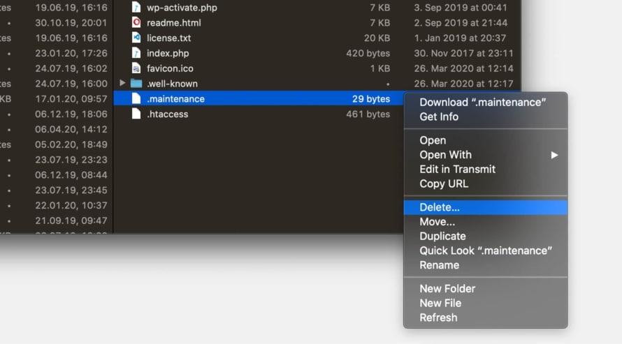 Delete .maintenance file in WordPress files