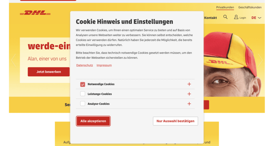 DHL cookie banner