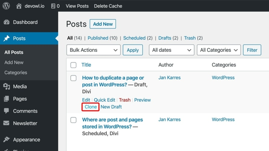 Duplicate/Clone post or page in WordPress