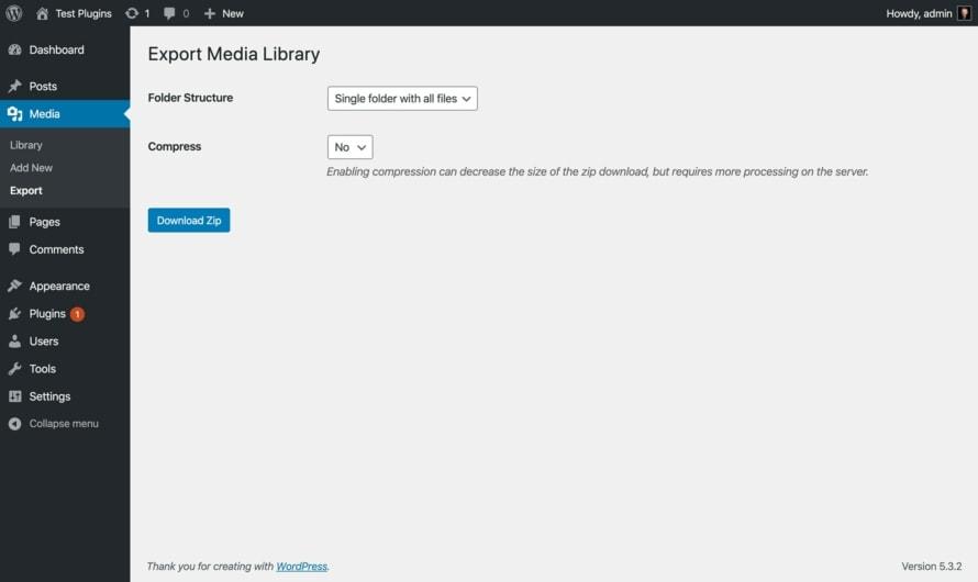 WordPress Medienbibliothek exportieren