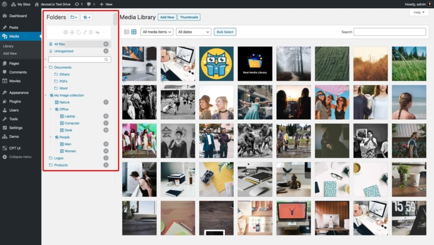 Organize your uploads with folders in the new sidebar in your media library
