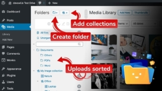 Create folders, add collections and organize uploads