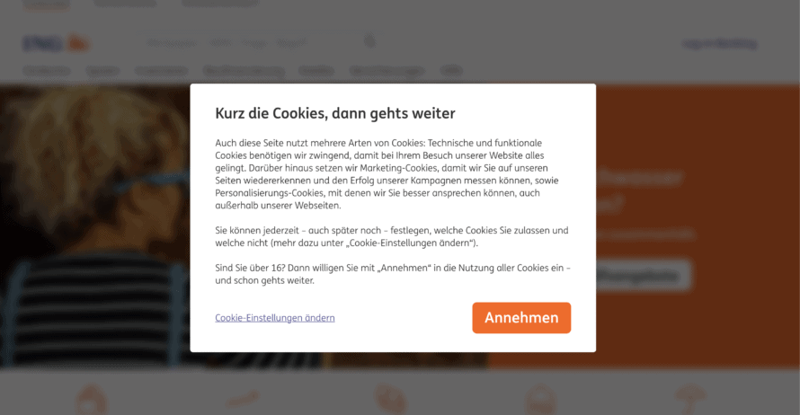 ING cookie banner