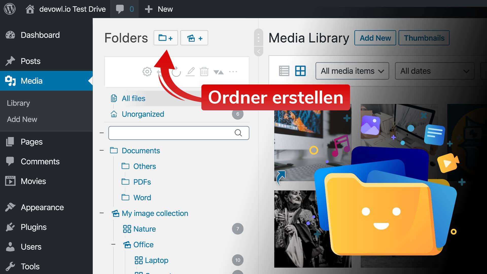 Erstellen von Ordnern in Ihrer WordPress Medienbibliothek