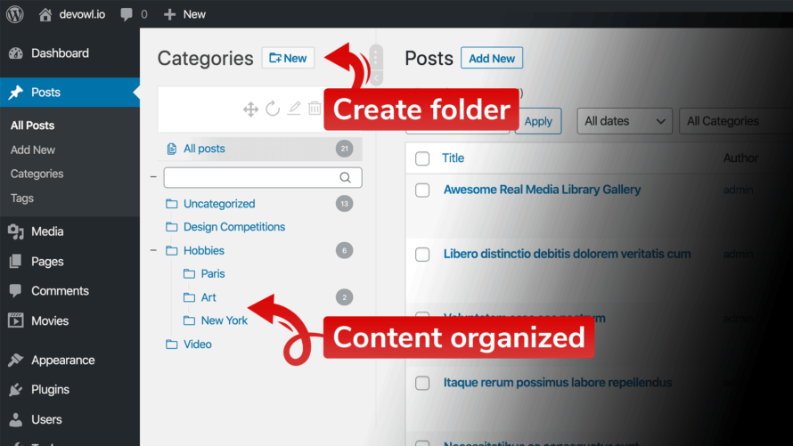 Create folders and organize content in folders