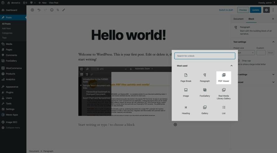 PDF-Einbettung Block im Gutenberg Editor für WordPress
