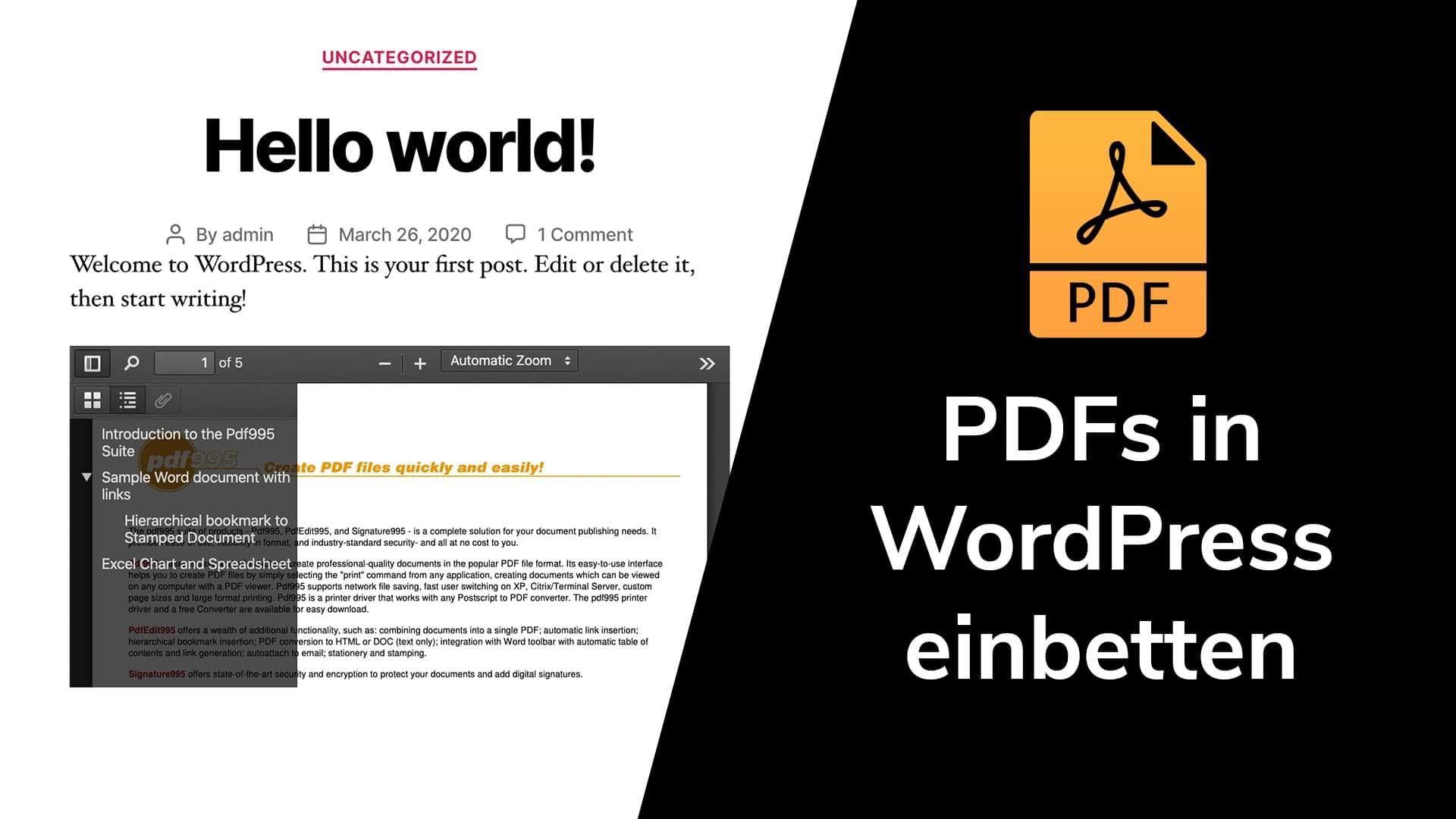 PDFs in WordPress einbettet