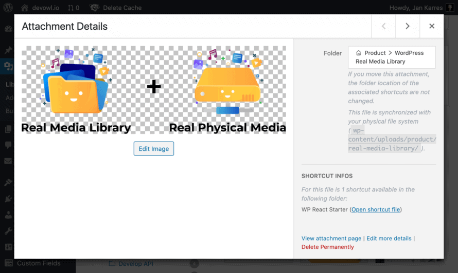 Real Media Library: References of shortcuts