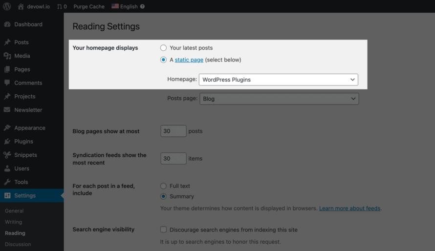WordPress: Set start page