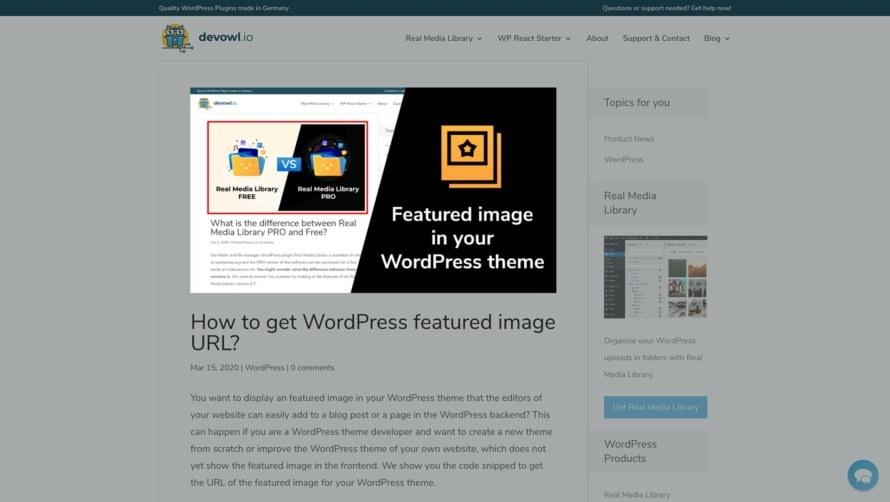 Show the featured image in the frontend of your WordPress website
