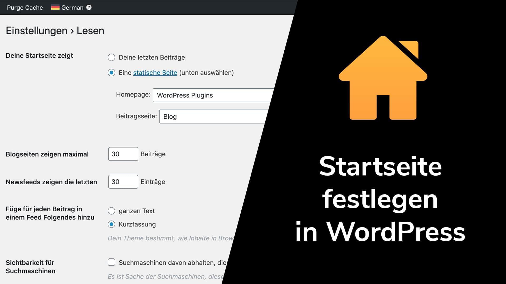 Startseite festlegen in WordPress