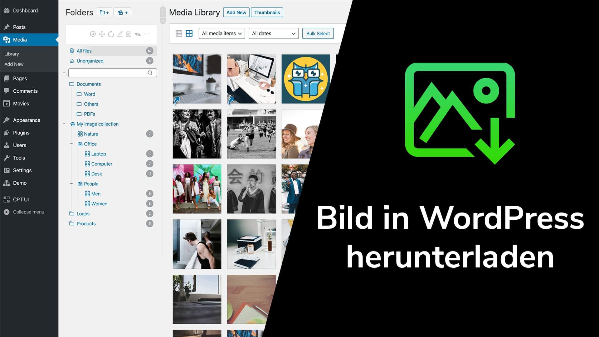 Bilder in WordPress herunterladen