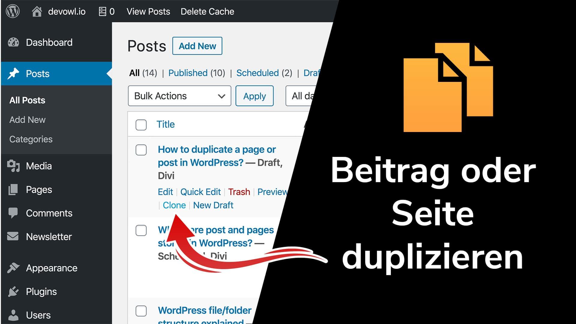 Duplizieren oder Klonen von Beiträgen und Seiten