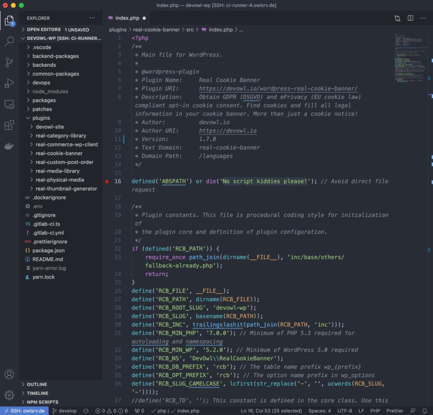 Screenshot for WP React Starter instance in Visual Studio Code