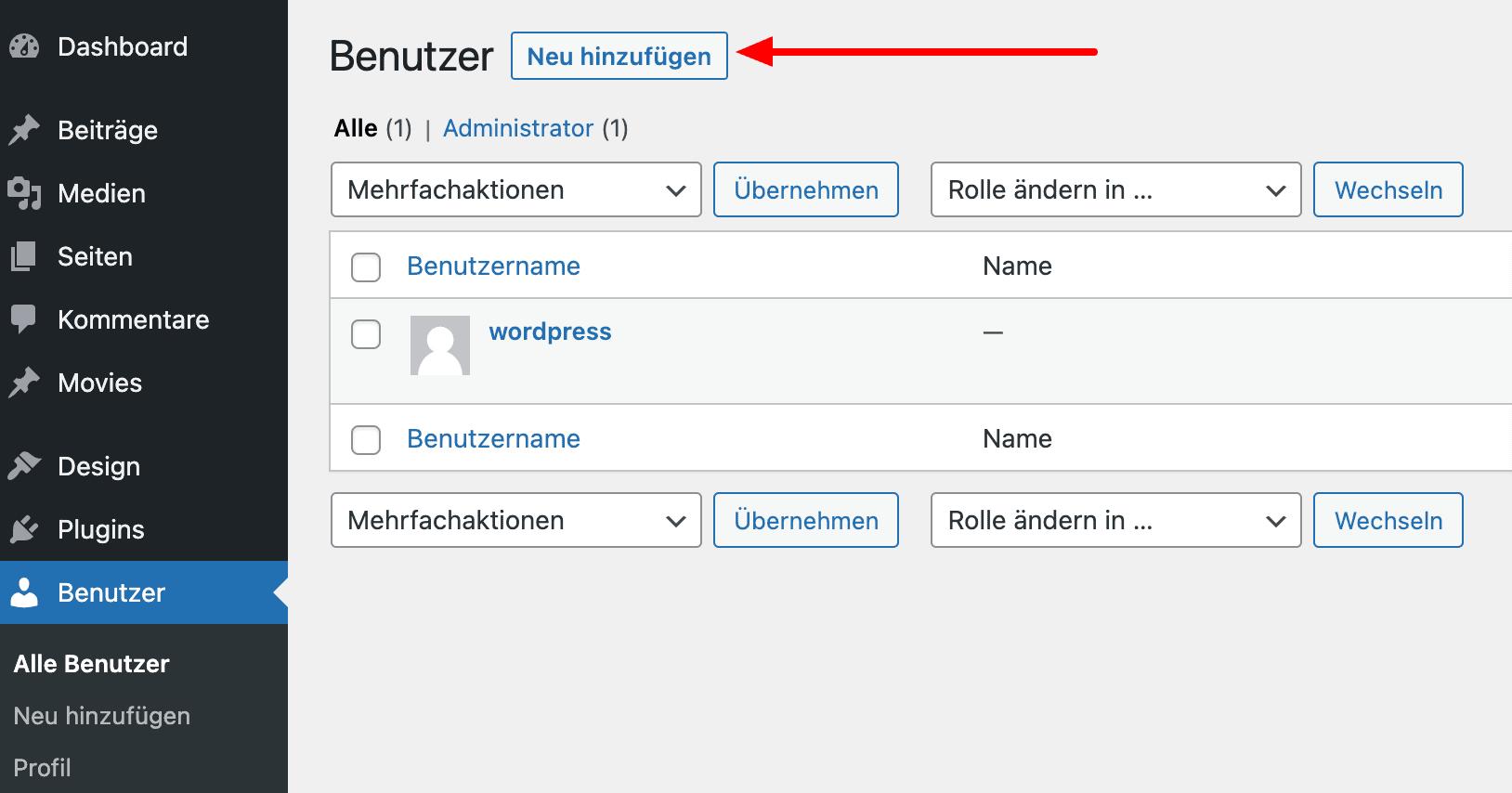 Add New User WordPress Backend