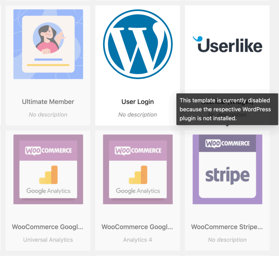 Cookie template for specific WordPress plugin