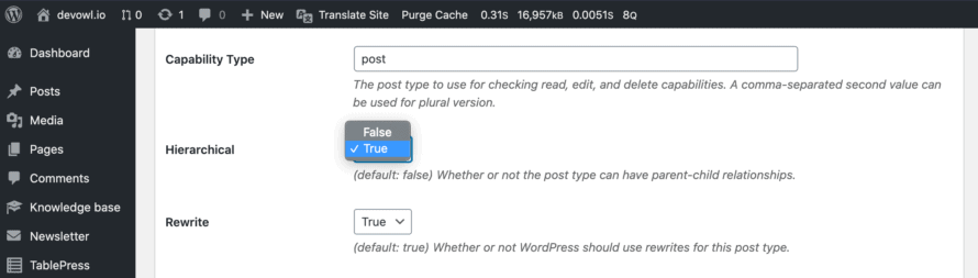 Enable hierarchical property in Custom Post Type UI for a custom post type