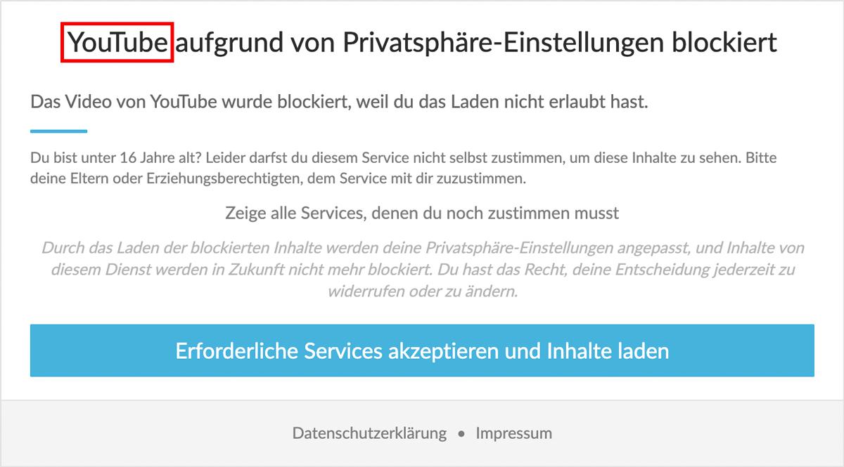 Name des Content Blockers im Titel des Content Blockers