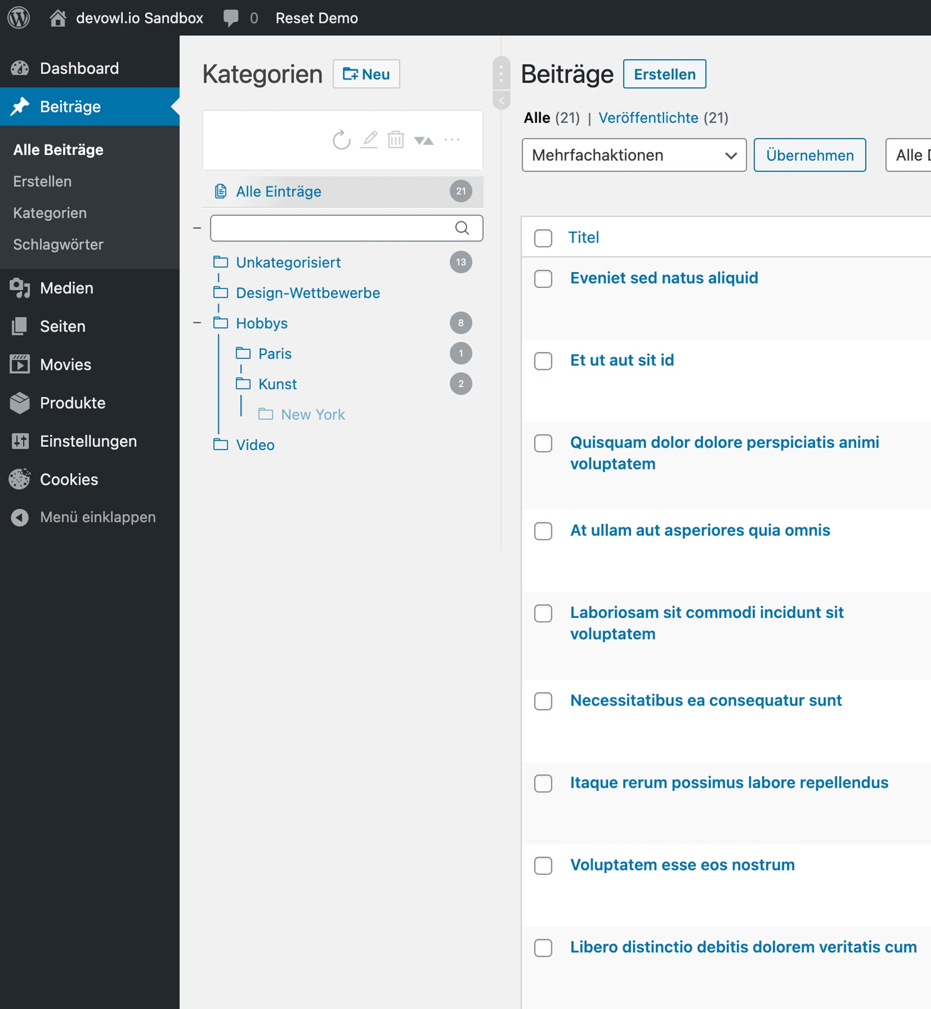 WordPress Real Category Management: Screenshot in Beiträgen