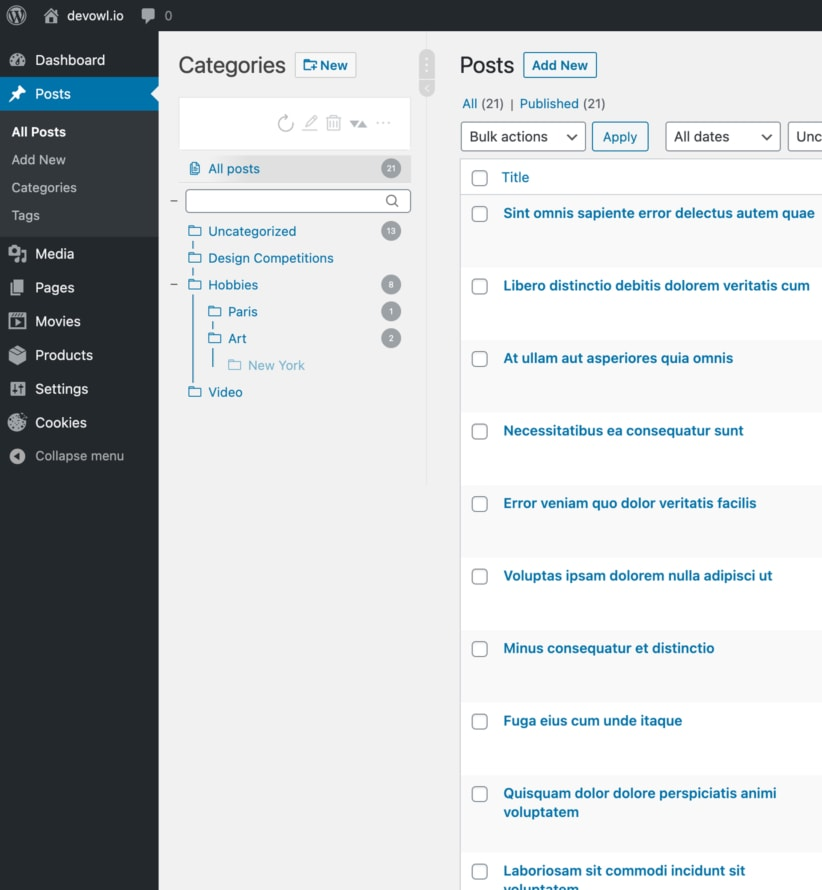 WordPress Real Category Management: Screenshot in posts