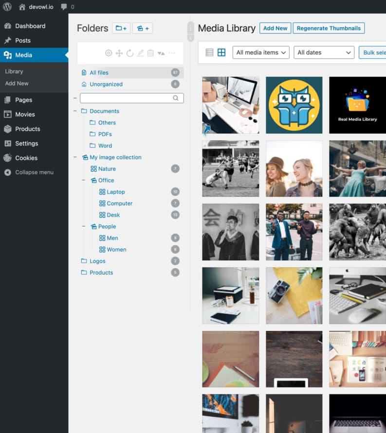 Real Media Library folder tree in WordPress