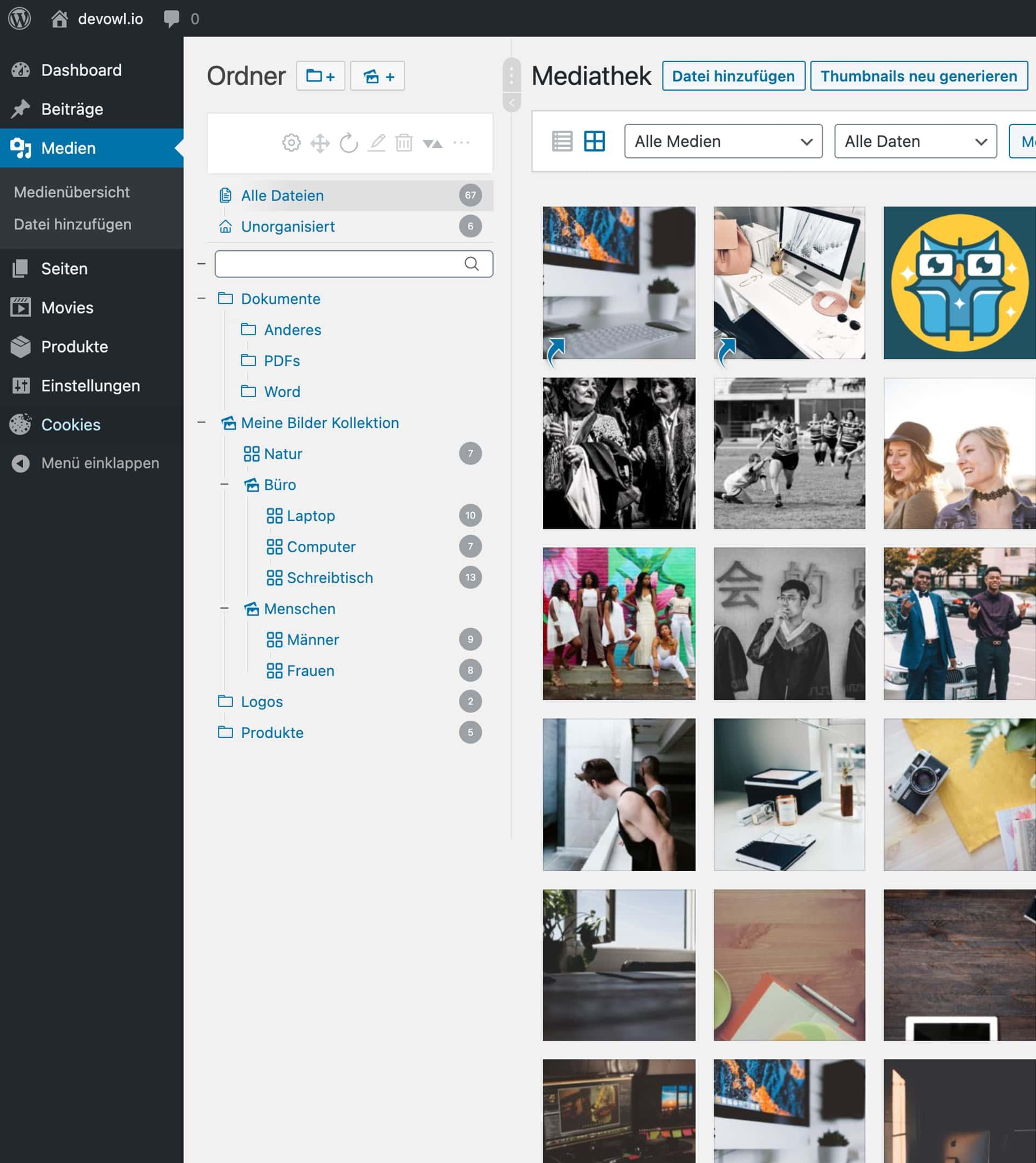 Real Media Library Ordnerbaum in WordPress